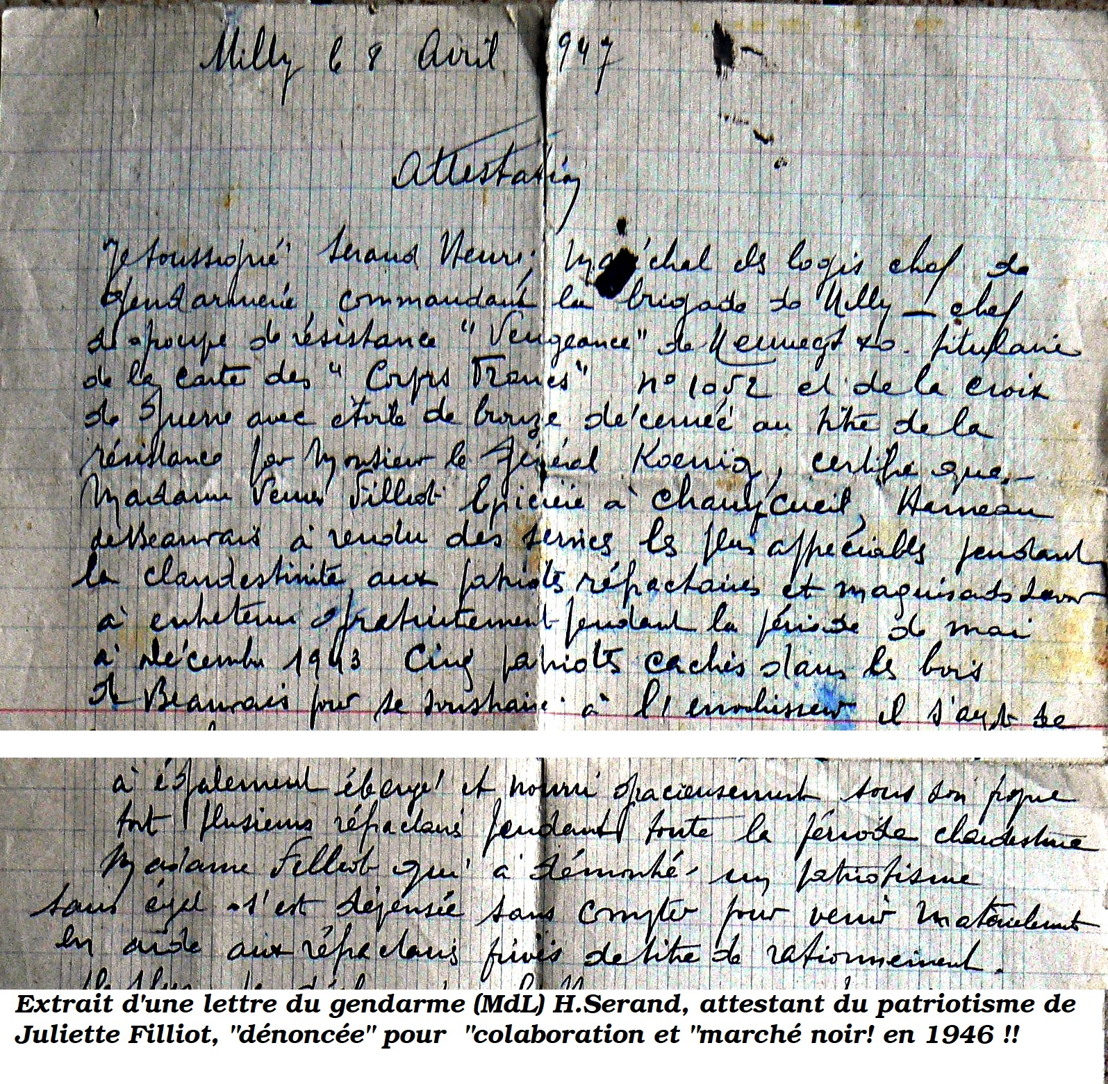 Lettre attestation de H.Serand à Mme Filliot 1947